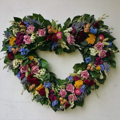 summer garden heart wreath